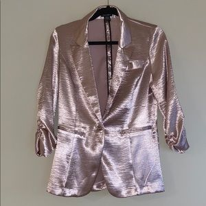 Stoosh Shiny Pink Blazer With Ruched Sleeves
